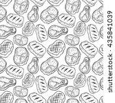 seamless pattern of beef steak... | Shutterstock .eps vector #435841039