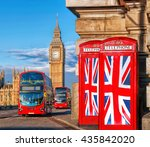 british union flags on phone... | Shutterstock . vector #435842020