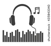 headphones music note icon.... | Shutterstock .eps vector #435843340