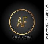 af golden initial circle logo... | Shutterstock .eps vector #435844126
