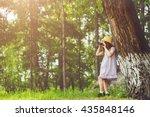 little girl in straw hat ...   Shutterstock . vector #435848146