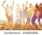 teenagers friends beach party... | Shutterstock . vector #435854698