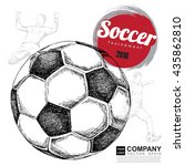 drawing of soccer background ... | Shutterstock .eps vector #435862810