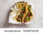 mexican vegetarian tacos with... | Shutterstock . vector #435870139
