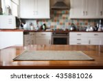 blurred kitchen interior and... | Shutterstock . vector #435881026