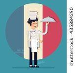 cartoon cook chefs illustration.... | Shutterstock .eps vector #435884290