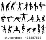 Set Vector Silhouettes Of Youn...