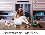 beautiful young smiling woman... | Shutterstock . vector #435892720