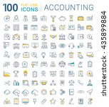 set vector line icons in flat... | Shutterstock .eps vector #435899884