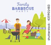 family picnic. bbq party. food... | Shutterstock .eps vector #435901483