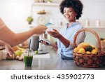 shot of a female juice bar... | Shutterstock . vector #435902773