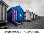 australia flag on a beach hut.... | Shutterstock . vector #435907588
