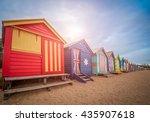 brighton beach bathing boxes ... | Shutterstock . vector #435907618