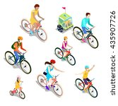 isometric people on bicycles.... | Shutterstock .eps vector #435907726