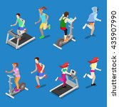 isometric people. man and woman ... | Shutterstock .eps vector #435907990