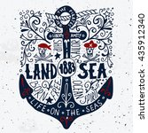 land and sea. hand drawn... | Shutterstock .eps vector #435912340