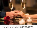 closeup of couple hands on... | Shutterstock . vector #435914173