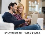 portrait of happy couple paying ... | Shutterstock . vector #435914266