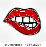 sexy fatal biting lips. pop art ... | Shutterstock .eps vector #435916234
