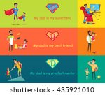 dads day. super dad with his... | Shutterstock .eps vector #435921010
