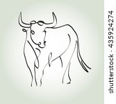 bull in a minimal line style... | Shutterstock .eps vector #435924274
