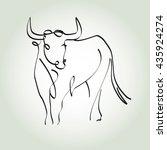 bull in a minimal line style... | Shutterstock .eps vector #435924274