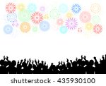 a crowd of people and fireworks.... | Shutterstock .eps vector #435930100