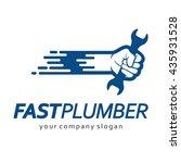 flat logo design for plumbing... | Shutterstock .eps vector #435931528