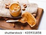 homemade almond butter in jar...   Shutterstock . vector #435931858