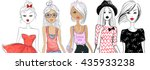 big vector set with fashion... | Shutterstock .eps vector #435933238