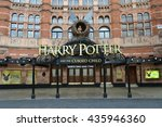Small photo of Front of The Palace Theatre in London with large advertisement for Harry Potter and the Cursed Child play 12th April 2016 The Palace Theatre London Harry Potter and the Cursed Child play