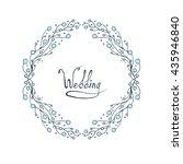 flower doodle frame. line... | Shutterstock .eps vector #435946840