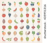 flat icons   fruits and... | Shutterstock .eps vector #435951316
