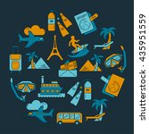 vector set of travel icons... | Shutterstock .eps vector #435951559