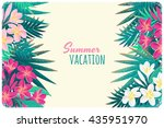 pink and white frangipani ... | Shutterstock .eps vector #435951970