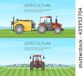 tractor watering field.... | Shutterstock .eps vector #435953704