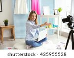 young female blogger with... | Shutterstock . vector #435955528