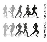 set of silhouettes of running... | Shutterstock .eps vector #435957184