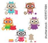 tailoring vector set. cute...   Shutterstock .eps vector #435957484