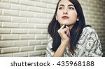 woman thinking dreaming... | Shutterstock . vector #435968188