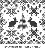 Ornament With Hares. Nordic...