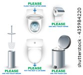 set of toilet bowls and... | Shutterstock .eps vector #435984220