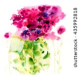Watercolor Pink Flowers On A...