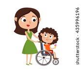 vector illustration of mom and... | Shutterstock .eps vector #435996196