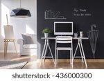 minimalist modern work space at ... | Shutterstock . vector #436000300