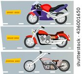 collection of motorcycles.... | Shutterstock .eps vector #436001650