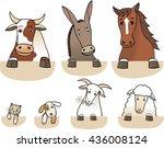 set of farm animals torsos... | Shutterstock .eps vector #436008124