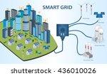 smart grid concept industrial... | Shutterstock .eps vector #436010026