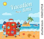 vacation  tourism and summer... | Shutterstock .eps vector #436012918