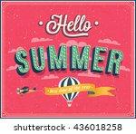 hello summer typographic design.... | Shutterstock .eps vector #436018258